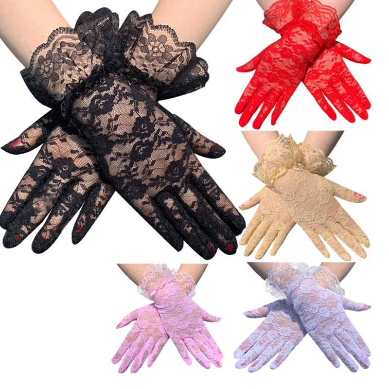 1 Juego de guantes de 7 colores de moda para mujer, guantes de encaje Sexy para fiesta, guantes de mujer Sunsn