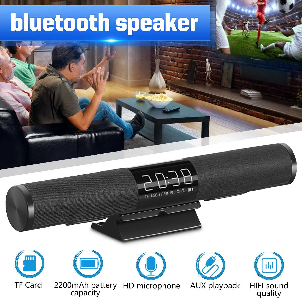 Altavoz portátil bluetooth Hi-Fi altavoz al aire libre inalámbrico TF AUX u-disk altavoz LED con micrófono 65Hz-18KHz manos libres