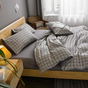 Home Textile Grey White Lattice Button Warm Duvet Cover Pillowcase Bed Sheet  Bedding Set 3/4pcs Single Double Bedline Dropship