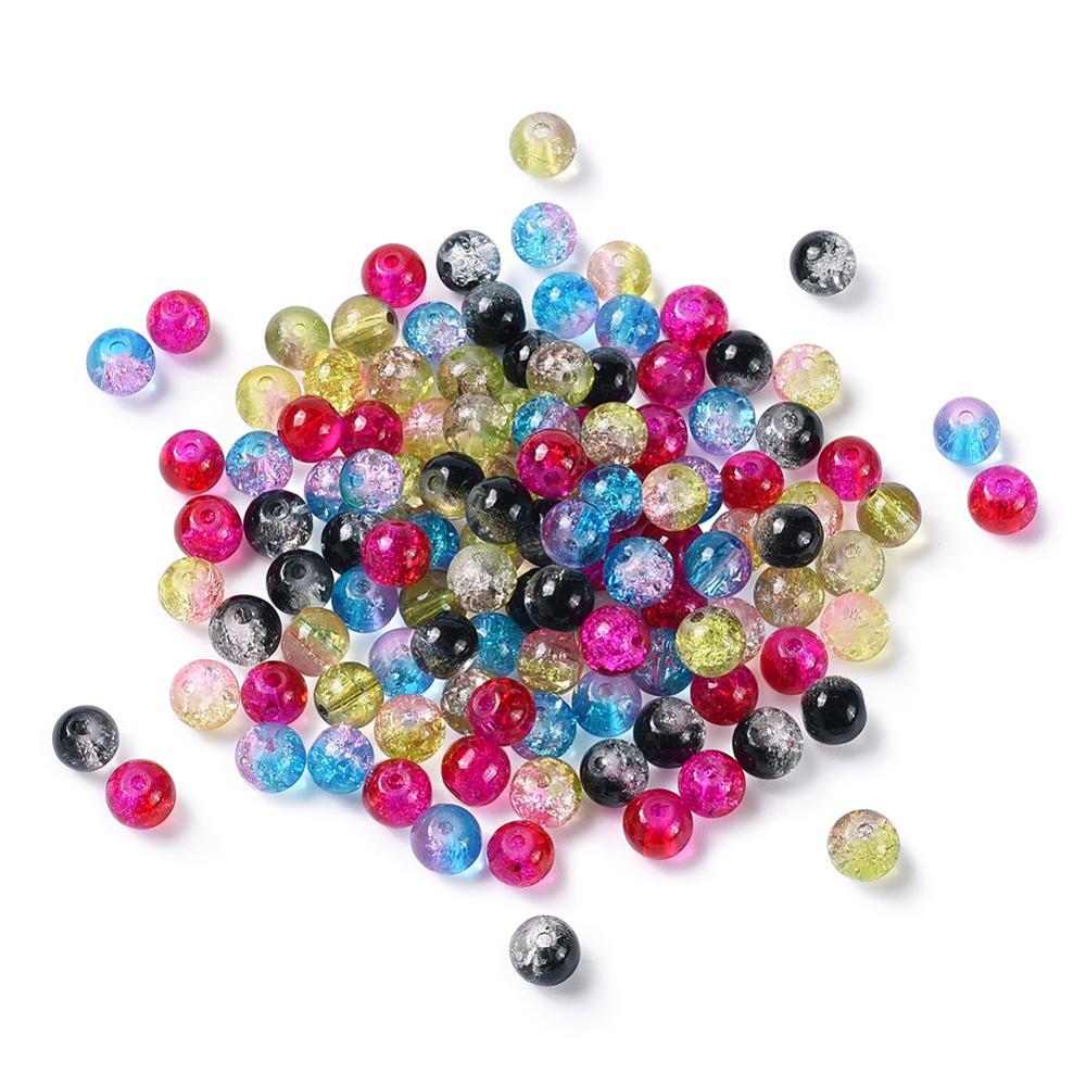 Dois tons crackle grânulos de vidro cor misturada pulseira redonda brinco contas soltas jóias fazendo diy 4 6 8 10mm buraco 1.3 pcs 1.6mm 100 peças