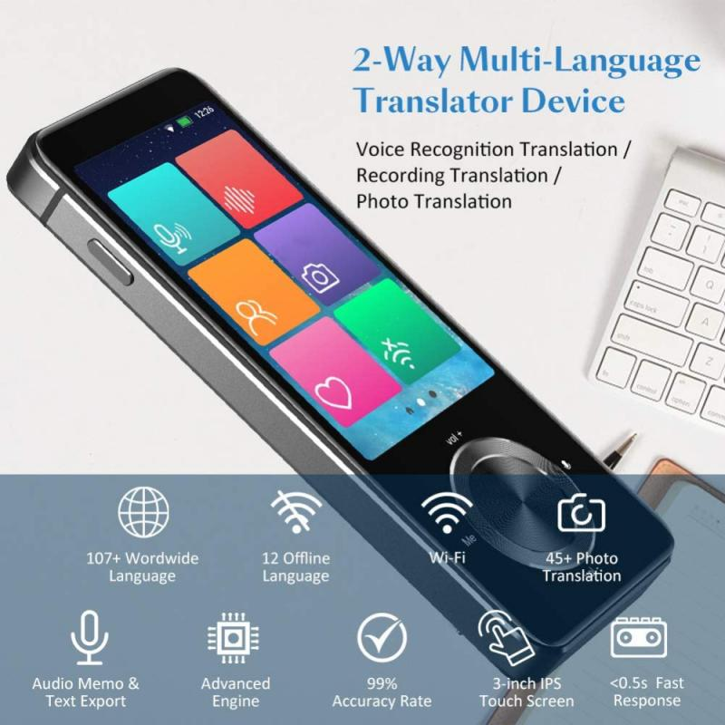 M9 مترجم صوتي فوري 107 لغة اتجاهين في الوقت الحقيقي في الوقت الحقيقي مترجم ذكي واي فاي/تسجيل غير متصل/صور