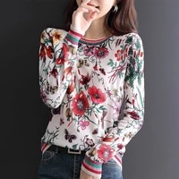fashionable spring and autumn new base shirt casual thin sweater printed pullover for women