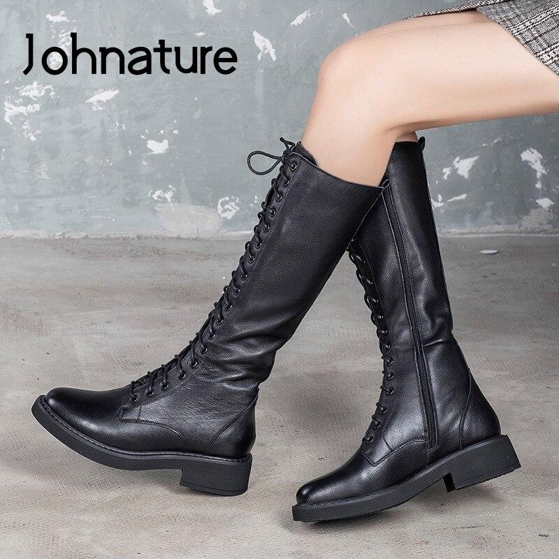 Johnature, botas con cordones para mujer, piel auténtica, novedad Otoño Invierno 2020, zapatos de punta redonda para mujer, cremallera, botas de plataforma hechas a mano