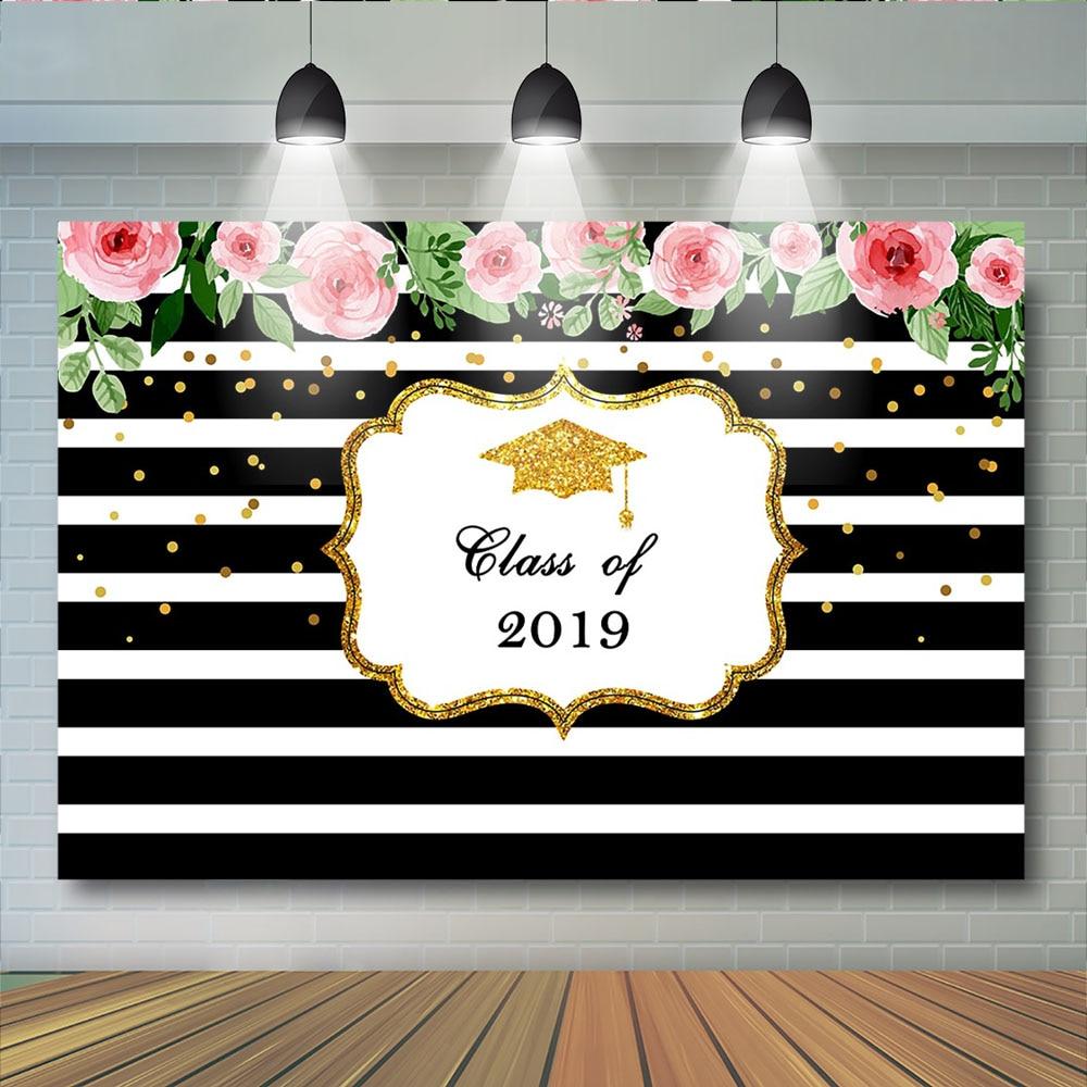 Fiesta de graduación 2020 telones de fondo Floral tapa de soltero fotografía fondo oro puntos fuegos artificiales educación telón de fondo para fotomatón