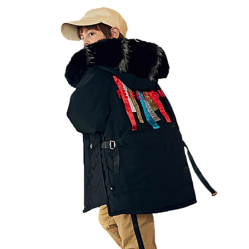 -30 grados chaqueta de plumón para niños 2020 invierno nueva chaqueta larga para niños y niñas abrigo de moda para niños parkas traje de nieve 4-12 años