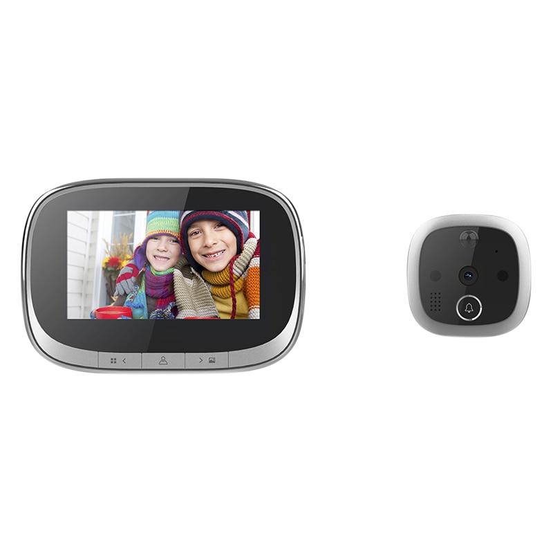Intelligent Electronic Cat Eye Doorbell Household Visual Anti-Theft Wireless Doorbell Black