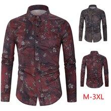 New premium brand Fashion Mens printing cotton long sleeve shirts/Male lapel slim Casual business shirts Plus size M-3XL
