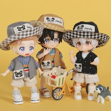 4 pièces/ensemble mignon poupée vêtements T-shirt + pantalon + gilet + chapeau pour Ob11,Mollys,obitsu 11,1/12 BJD poupée vêtements accessoires pour poupée