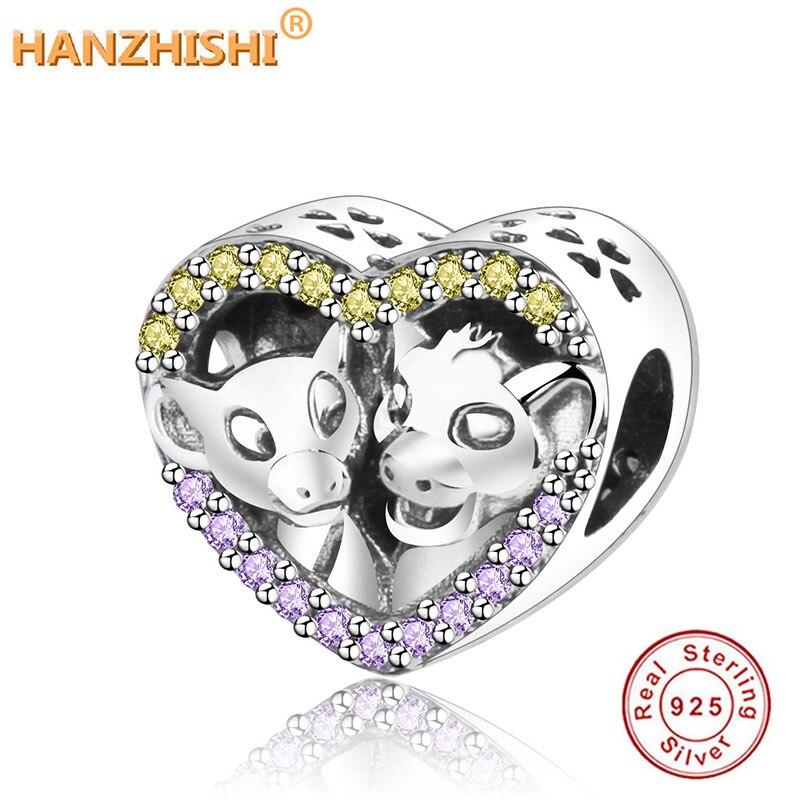 Pulsera de dijes Pandora Original compatible con gemas de León de plata de ley S925 de Simba y nanara, adornos de joyería hazlo-tú-mismo brillantes en forma de corazón