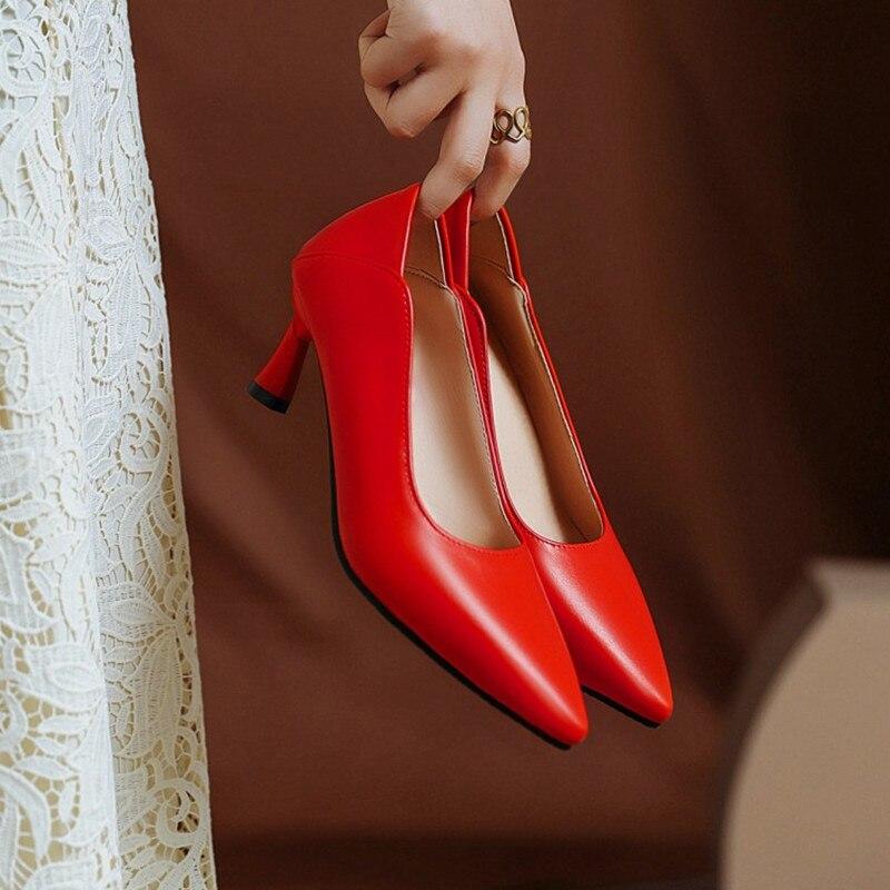 Bombas de Salto Couro do Plutônio Sapatos de Escritório Ochanmeb Maior Tamanho 14 Básico Alto Sapatos Femininos Boa Qualidade Preto Vermelho nu Bege Rosa 48 47