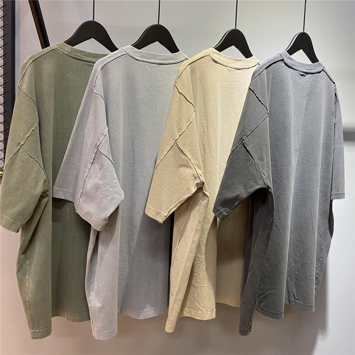 الصيف غسلها القطن الثقيل قمصان راجلان كبيرة الحجم قصيرة الأكمام لوحة تي شيرت الهيب هوب الشارع الشهير خمسة ألوان