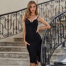 ADYCE 2020 nouveau été femmes col en V noir robe de pansement Sexy Spaghetti sangle volants Club célébrité piste robes de soirée Vestidos