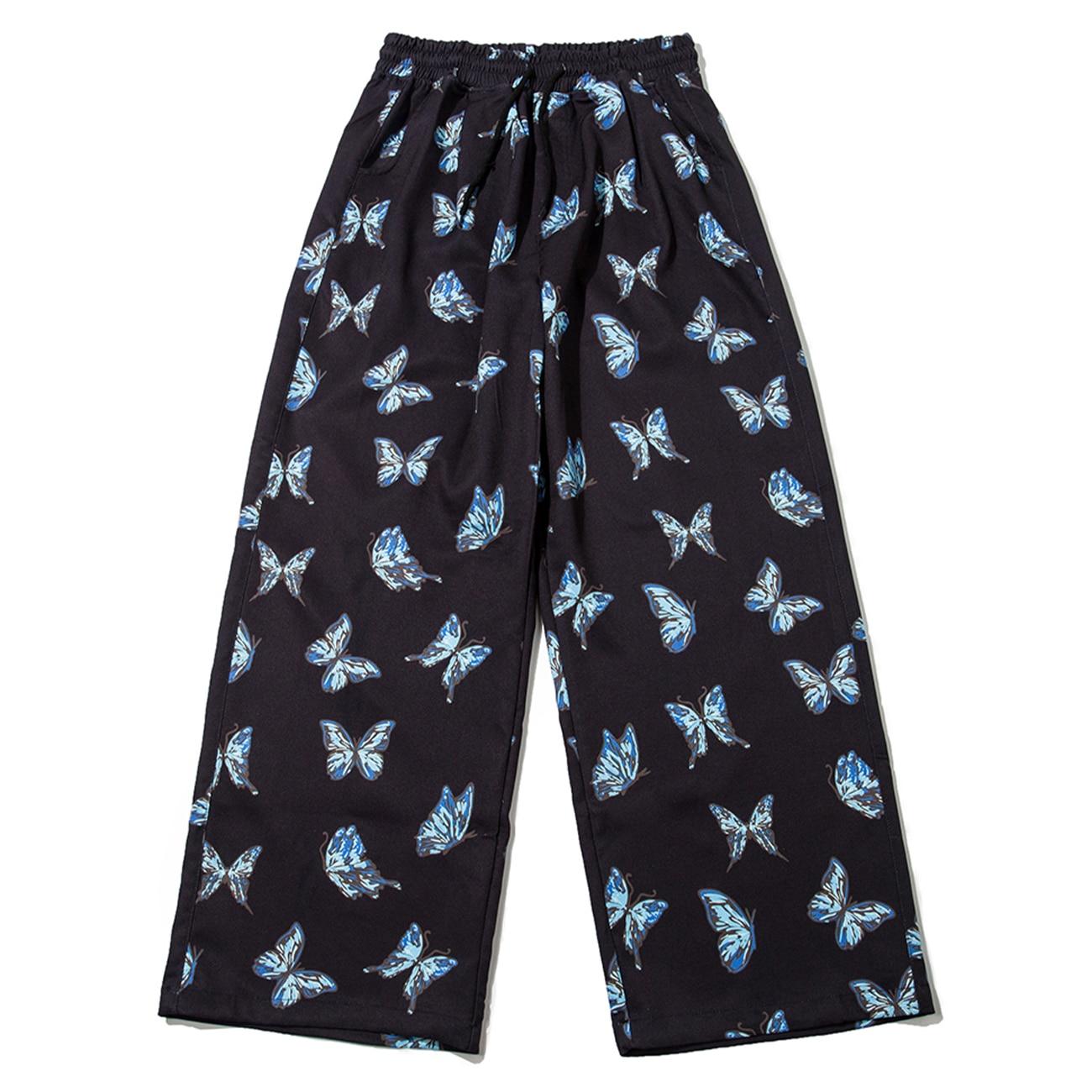 2021 Hip Hop Streetwear Baggy Harem Running Pants Tapered Casual Butterfly Print Sweatpants Harajuku  Joggers Men's Trousers