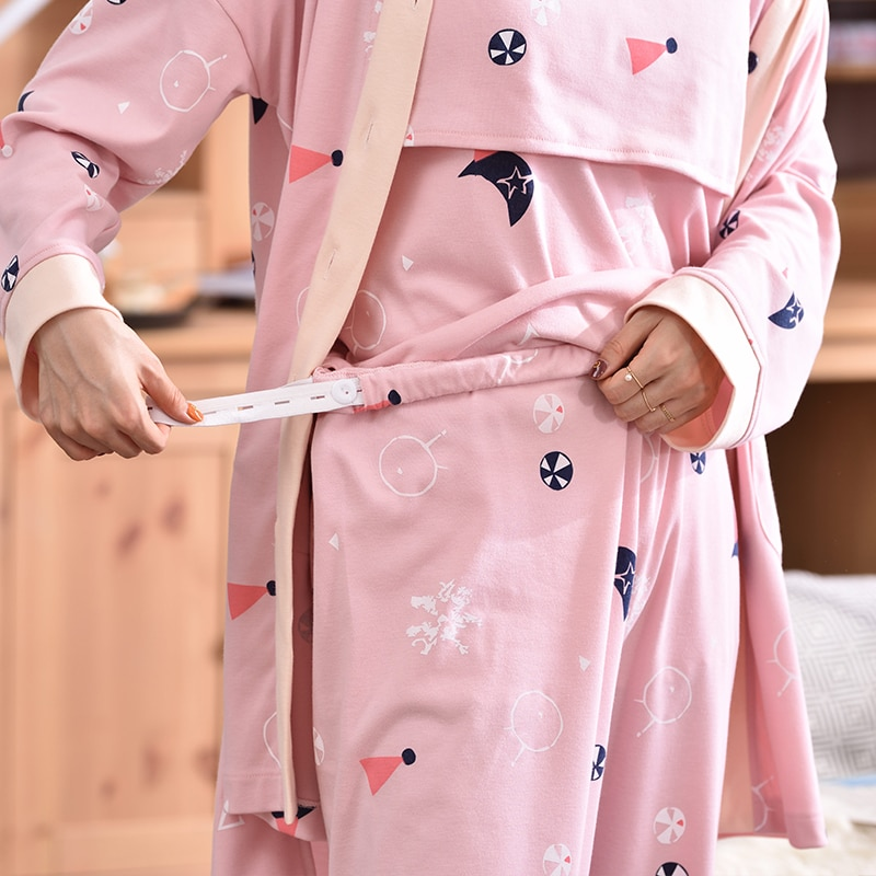 100% Cotton Printed Maternity Nursing Sleepwear Sets Breast Feeding Pajamas Suits Clothes for Pregnant Women Pregnancy Home Wear enlarge