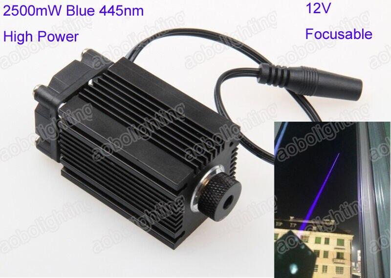 445nm 2500mW 2,5 W módulo láser azul Diodo con disipador térmico para DIY máquina de grabado láser Proyector láser piezas de luz de escenario