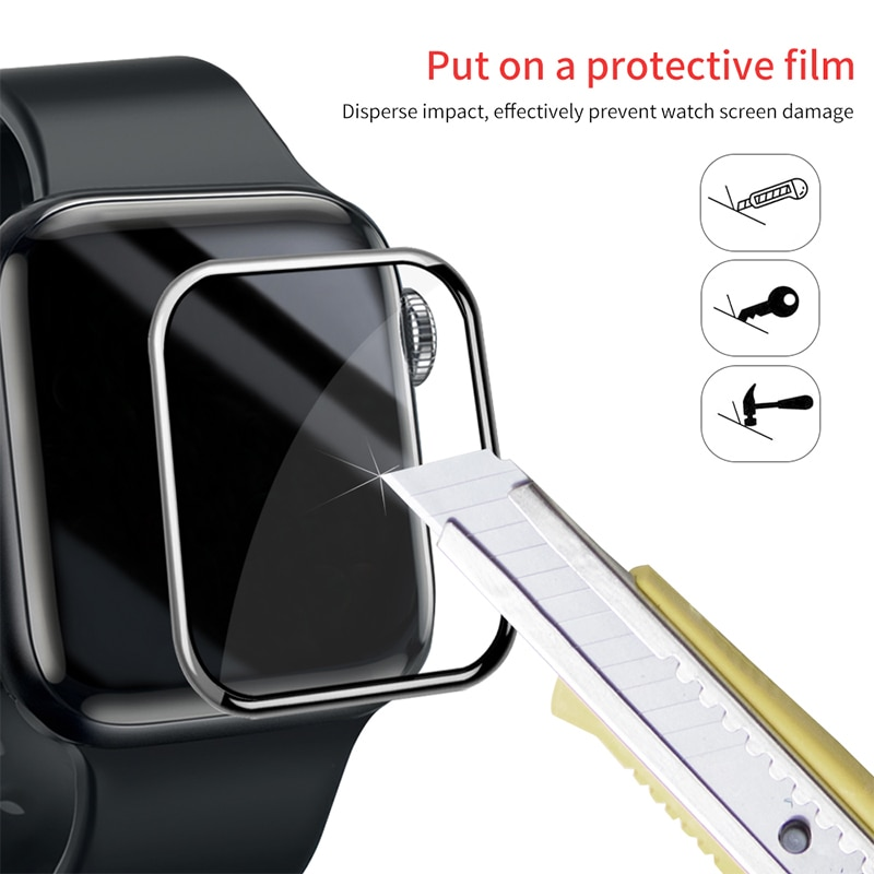 100d curved tempered glass for apple watch series 38 40 42 44 38 42mm hd screen protector film for iwatch 5 4 3 2 1 full glue 3D Curved Edge HD Tempered Glass for Apple Watch Series 3 2 1 38/42MM Screen Protector film for iWatch 4/5/6 40MM 44MM Full glue
