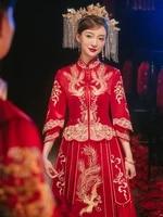 traditional phoenix embroidery tasssel chinese cheongsam couple wedding suit elegant bride marry dress %d0%ba%d0%b8%d1%82%d0%b0%d0%b9%d1%81%d0%ba%d0%b0%d1%8f %d0%be%d0%b4%d0%b5%d0%b6%d0%b4%d0%b0