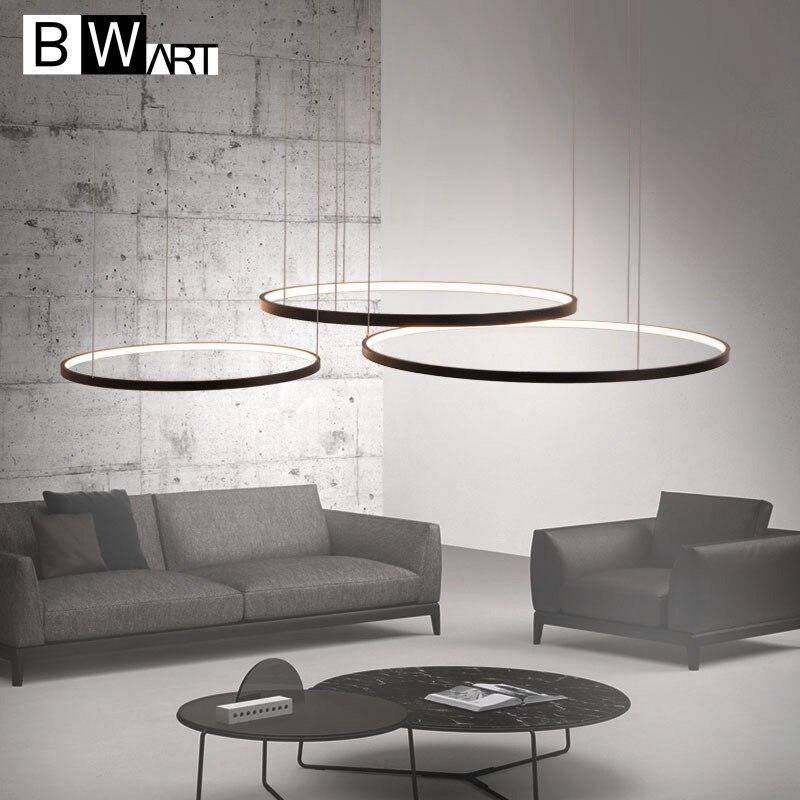 BWART modern led chandelier aluminum circle lights for Interior design engineering lighting Line hang LED ring chandelier lamp