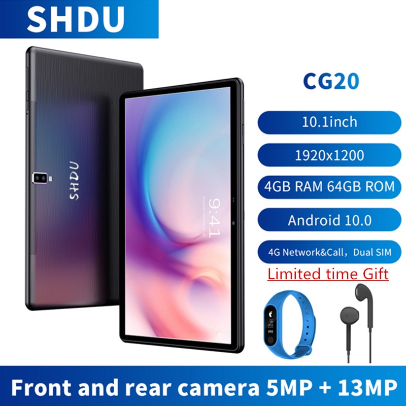 SHDU 10.1'' Android 10 Tablet 1920x1200 SC9863A Octa Core 4GB RAM 64GB ROM 3G 4GLTE Network AI Speed-up Tablets PC 13MP Camera