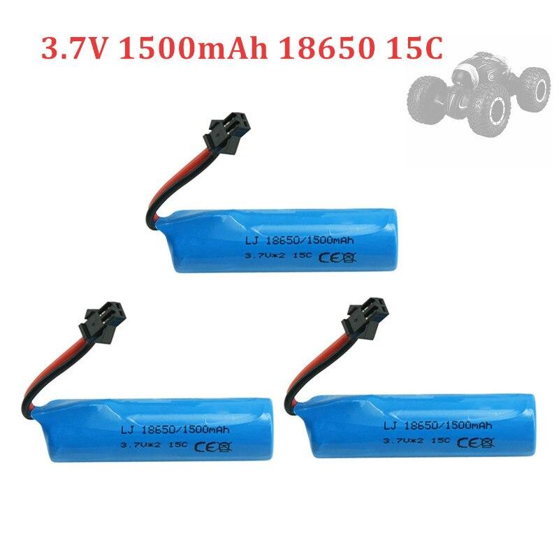 3.7v 1500mah 15C 18650 Li-ion Battery For RC Stunt Car Q85 Q70 Rc Car Toys SM-2P Plug RC Boat Car Water soft Gun Battery Parts