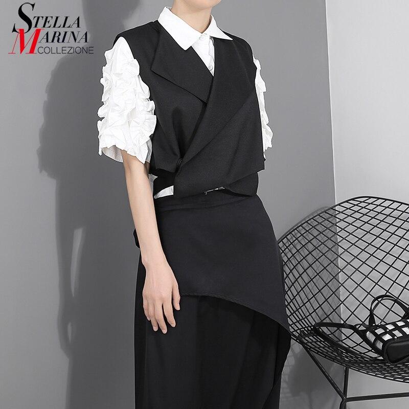Novedad de 2019, moda europea, chaleco negro liso para mujer, fajas, botones sin mangas, chaqueta única para mujer, chaleco informal para chicas, estilo 1851