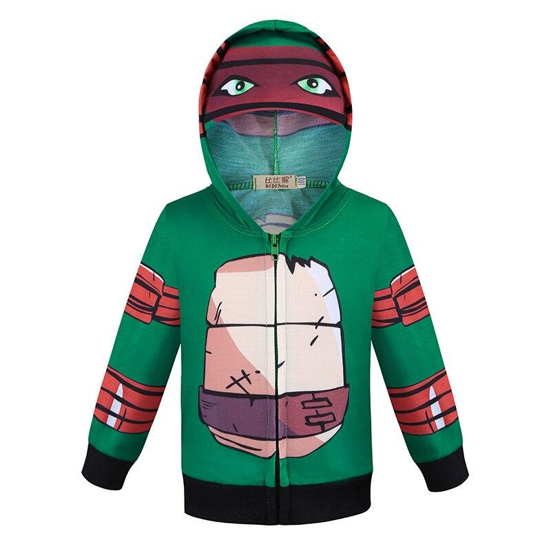 Bibihou traje de manga longa para crianças, traje de ninja de manga longa verde, tartaruga, casaco com capuz, atacado, recém-chegado, meninos e meninas