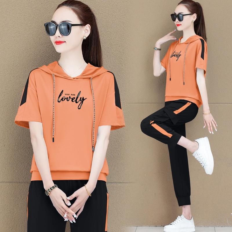 الربيع الصيف 2021 المرأة الأزياء 2 قطعة مجموعة قصيرة الأكمام مقنعين أعلى السراويل كبيرة حجم الملابس الأزرق الأبيض البرتقال الوردي أسود أحمر