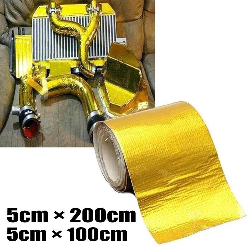 Cinta de envoltorio de protección térmica de alta temperatura de oro reflectante adhesivo cinta de fibra de vidrio ignífuga para motocicleta