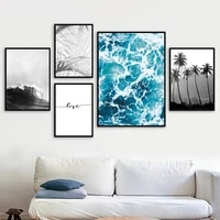 tropical sea landscape palm wave quote wall art canvas painting nordic posters and prints wall pictures for living room decor