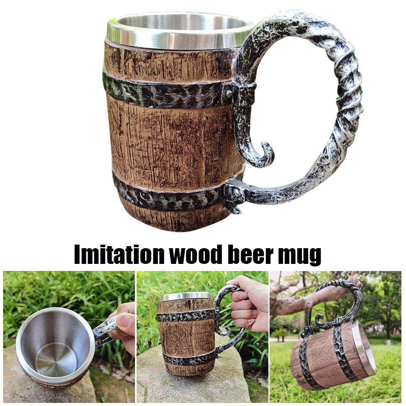 خشبية كوب للبيرة محاكاة الرجعية برميل خشبي طبقة مزدوجة كوب بيرة ستانلس ستيل كوب القهوة القدح اليدوية كوب للبيرة TP-Hot