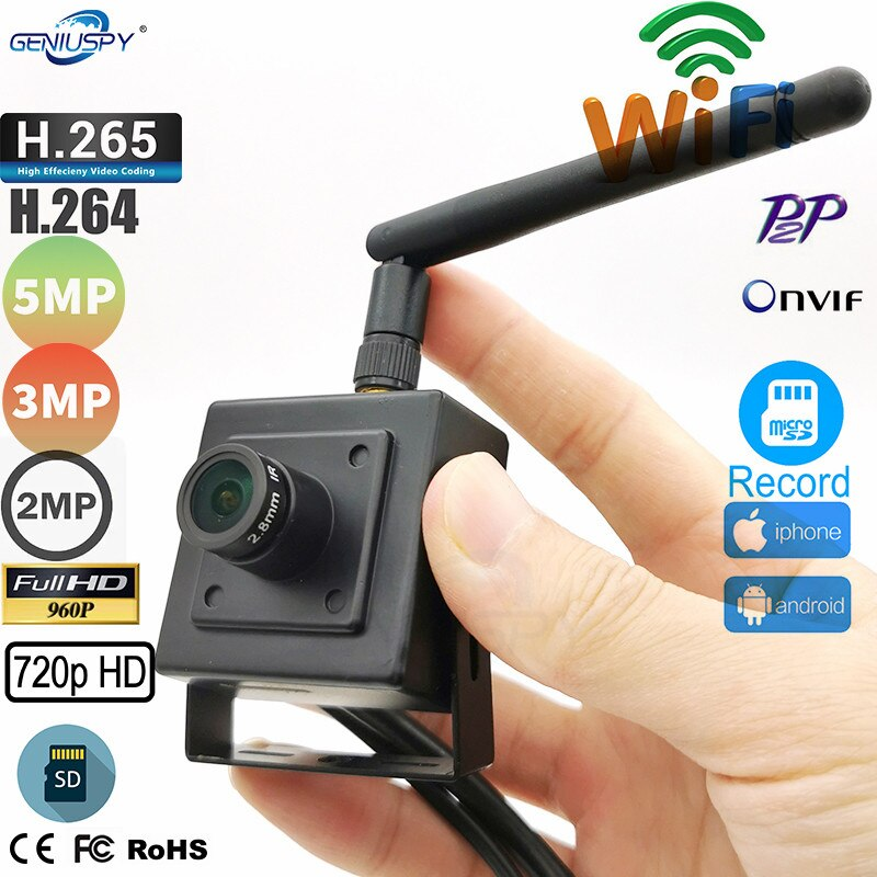 Micro tamaño IMX335 1920P 5MP 3MP 2MP 1.3MP 1MP Mini WIFI IP cámara interior vigilancia inalámbrica seguridad del hogar Onvif TF ranura para tarjeta