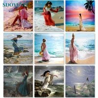 sdoyuno painting by numbers for adults seascape 60x75cm diy paint by numbers on canvas scenery frameless hand painting decor