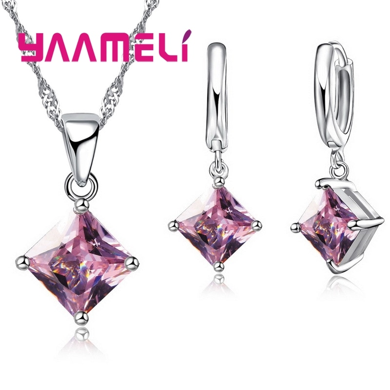 New Fashion Women Pendants Necklace Simple Geometry Square Earrings Crystal 925 Sterling Silver Jewe
