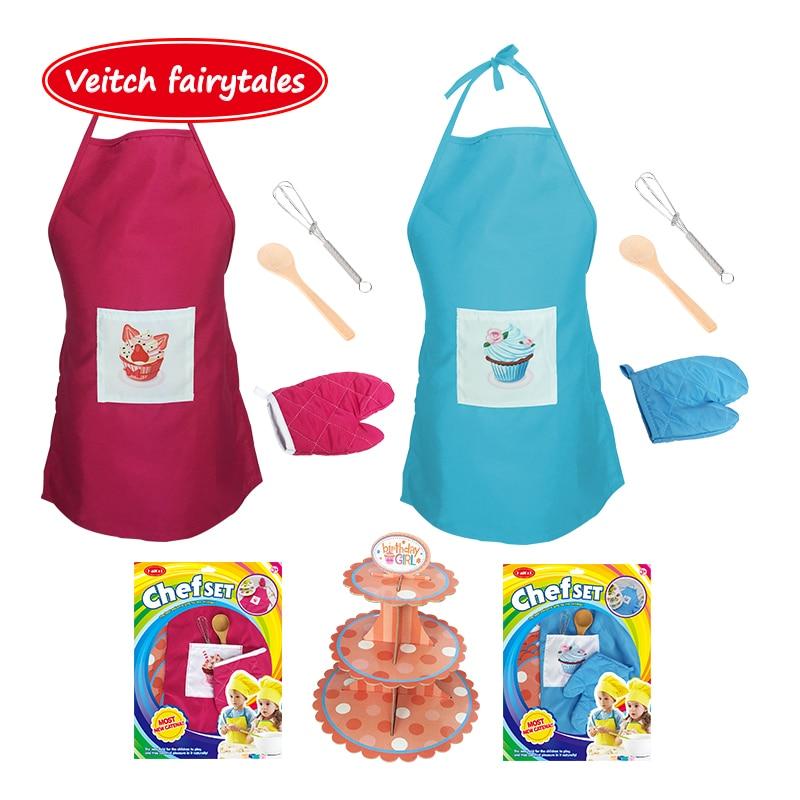 Veitch, Обучающие сказки, ролевые игры для приготовления пищи, инструменты для выпечки, Детский фартук, набор кухонных игрушек для детей, девоч...