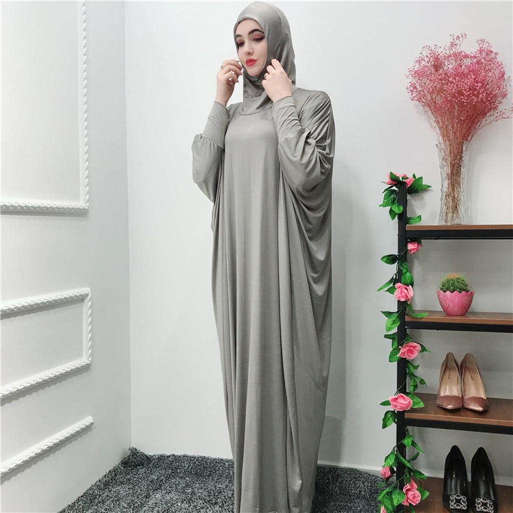 Vestido musulmán para Mujer, Túnica islámica, árabe, Mujer musulmana, color sólido, tocados, mezquita, Túnica de manga murciélago, cárdigan, vestido de Ramadán