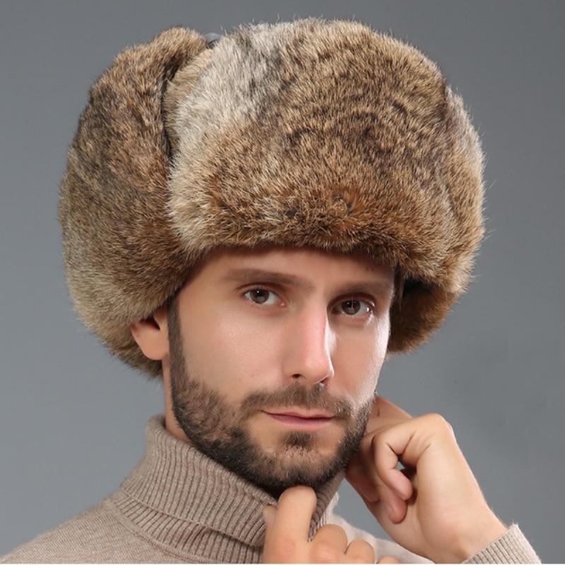 قبعة من فرو الأرانب للرجال ، قبعة روسية دافئة وسميكة ، قبعة تزلج روسية ، صائد الأذن ، مقاس كبير ، HT3262