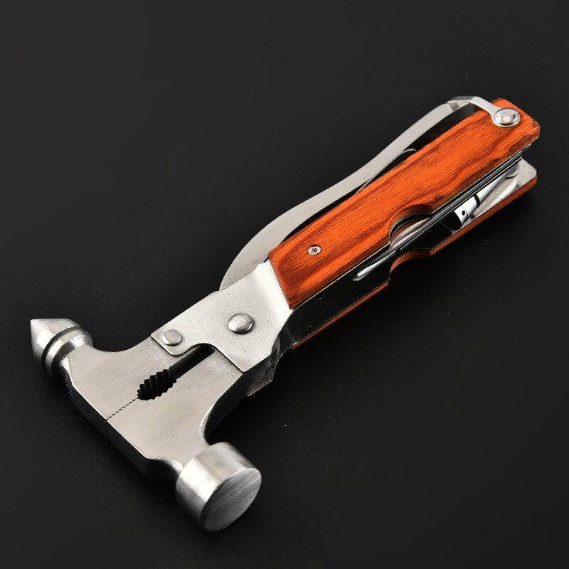 Multi-ferramenta carro safty martelo chave de fenda bolso faca de aço inoxidável ferramenta de mão acessórios do carro com alça de madeira em sacos de náilon