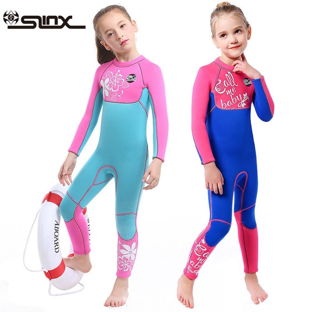3MM Neoprene Wetsuits Kids Swimwears Diving Suits Long Sleeves Boys Girls Surfing Children Rash Guards Snorkel One Pieces