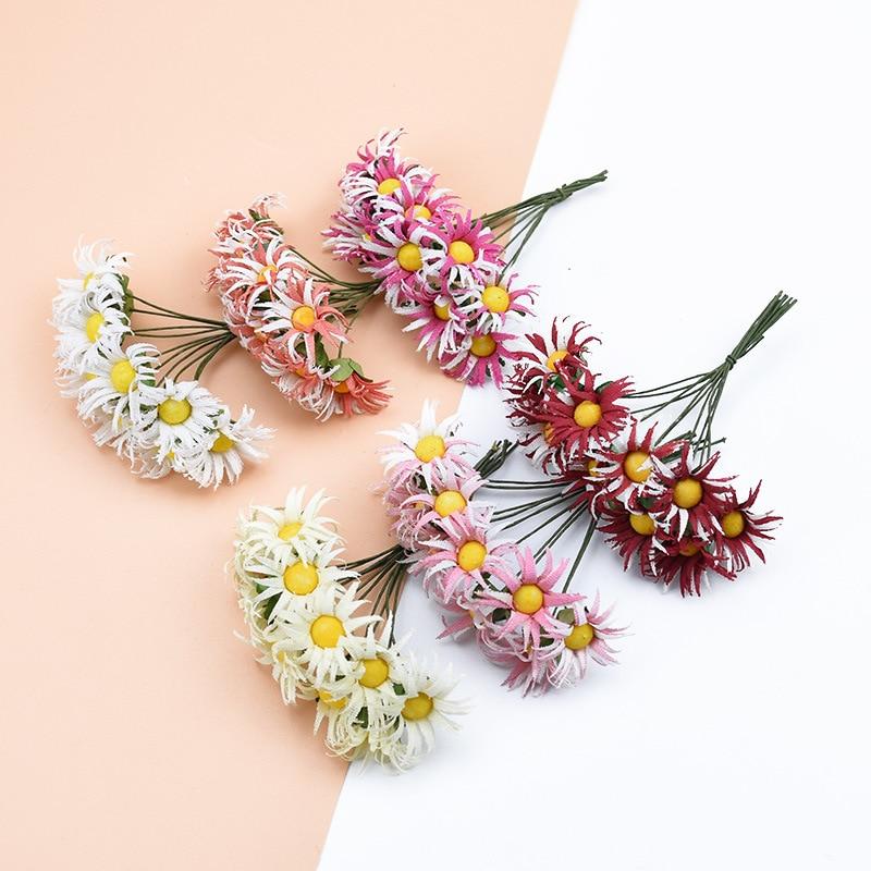 10 Uds./ramo de simulación flor Margarita Artificial Flor de espuma DIY bola tocado guirnalda decoración de boda flores de novia