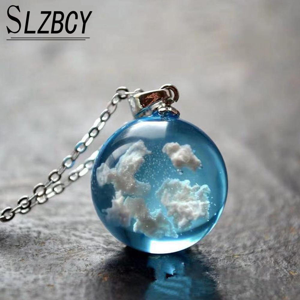 Lumineux bleu ciel blanc nuage Transparent boule de verre pendentif colliers lien chaîne longue collier résine tour de cou femmes bijoux cadeaux