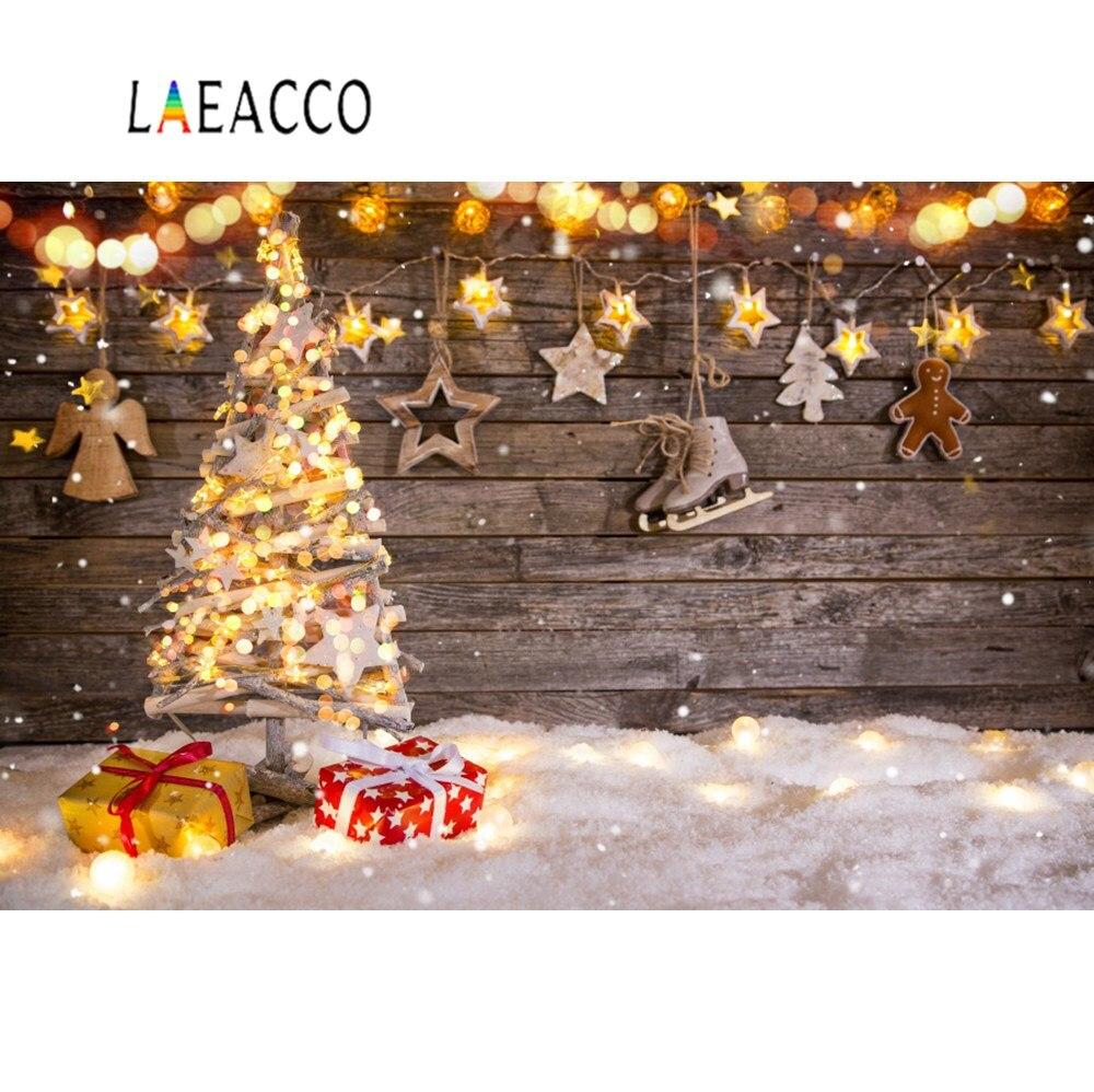 Laeacco Feliz Navidad festivales árbol nieve lunares estrella regalo fiesta bebé juguetes retrato foto fondos fotografía telón de fondo