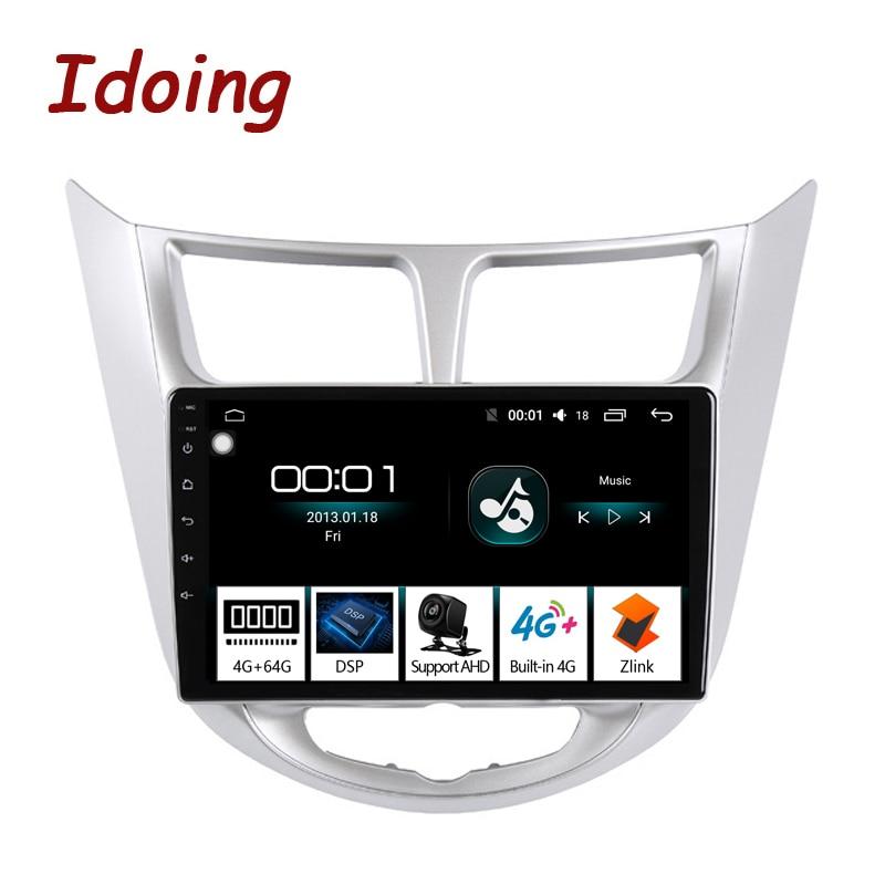 "Idoing 10.2 ""rádio do carro multimídia android player de vídeo navegação gps para solaris 1 2 hyundai accent verna 2012 sedan nenhum 2din dvd"