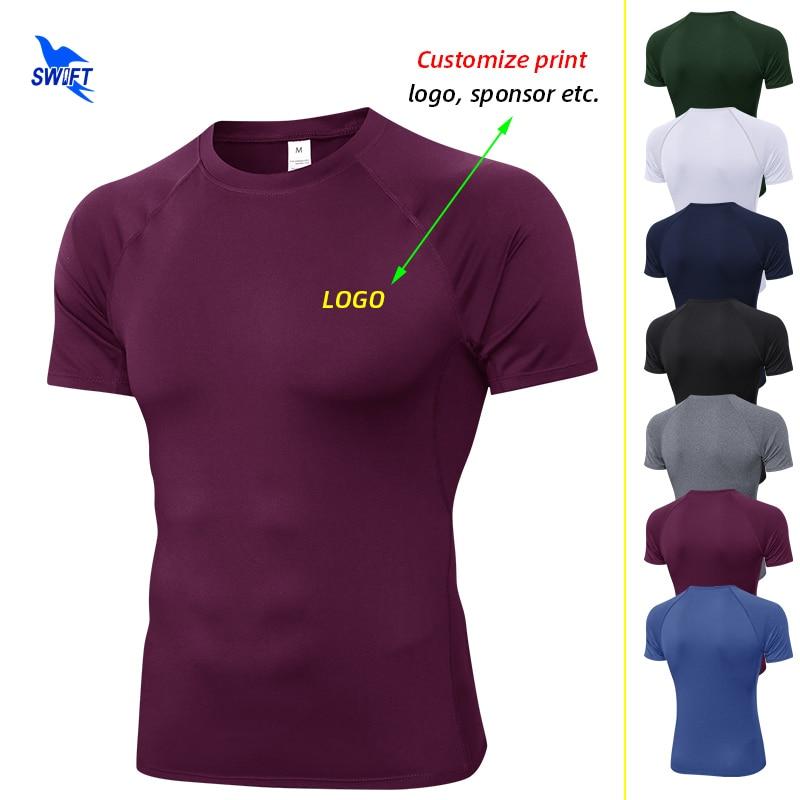 Anpassen Druck männer Lauf T-Shirts Quick Dry Compression Sport Hemd Fitness Gym Fußball Trikots Elastische Sportswear Top Tees