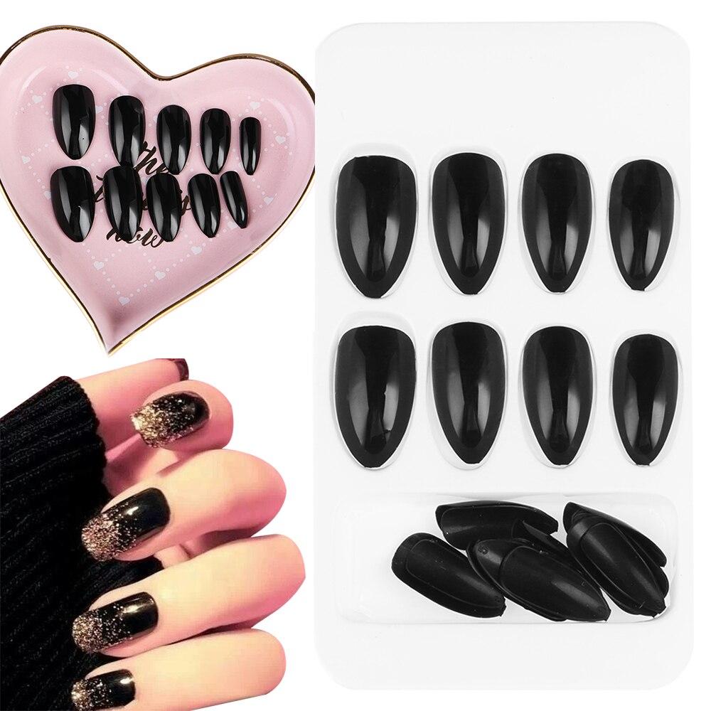 Uñas postizas en colores negro brillante y ovalado, uñas falsas redondas de estilo Kawaii y negro, uñas postizas medianas con pegamento, 24 Uds.