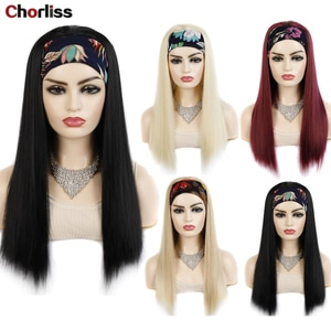 Chorliss Fashion Long Turban Wig Wrap and Wig Linked Headband Wigs Straight Black Brown Synthetic Wig For Black Women