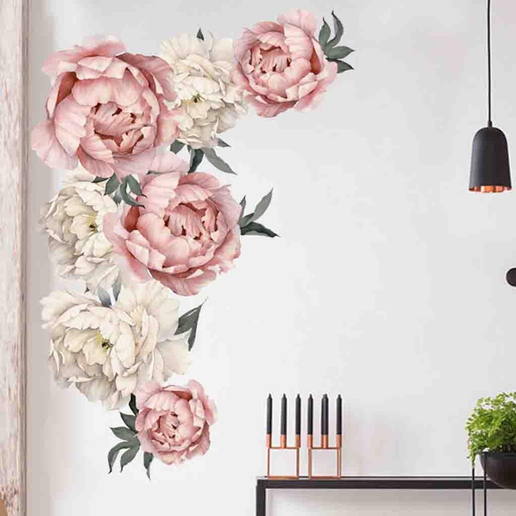 Nueva pegatina de pared de peonía Rosa Flores arte pegatinas para habitación de niños decoración del hogar Accesorios de regalo Voor Kinderen Kamers calcomanías adhesivas