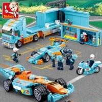 sluban model city container maintenance car truck vehicle sets model building blocks van carriage kits toys boy 6 12 4styles