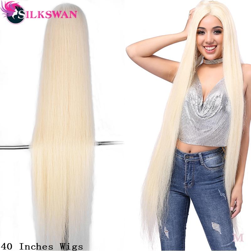 SilkSwan Hair Brazilian Full Lace Wig 613 Blonde Straight Virgin Hair Wigs for women Human Hair Wigs Transparent Lace 40 Inch