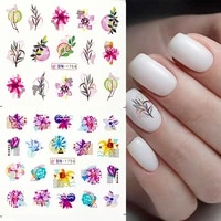 12pcs summer flower leaves nail stickers water decals transfer slider tree green nails inscriptions nail art decoration tips