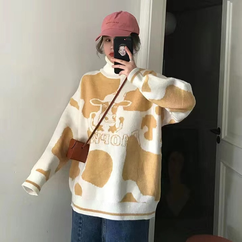 Sweater pullover autumn and winter new sweet pullover sweater female student Korean version loose wild sweater coat trend 2021 enlarge